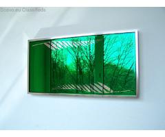 green mirror , colored mirror , green mirror glass , love mirror , nature mirror , spatial