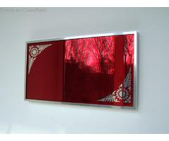 red mirror, red glass mirror, rare find , exotic mirror , unusual mirror , modern mirror