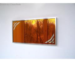 yellow mirror, yellow glass mirror, warm bright mirror , hot yellow spectrum , rare find